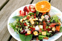 Colorful Salad with Fruit. Colorful salad made with a variety of organic ingredients, served with fresh fruit on the side Stock Images