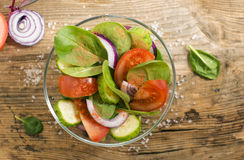 Colorful salad in the glass bowl Royalty Free Stock Photography