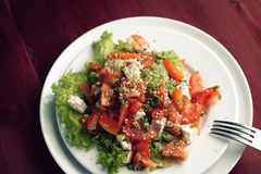 Colorful salad with vegetables and cottage cheese. stock photos