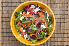 Colorful Salad In Yellow Bowl Royalty Free Stock Photography