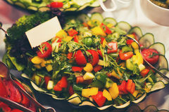 Colorful salads on the party Royalty Free Stock Images