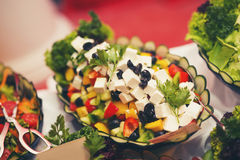 Colorful salads on the party. Colorful salads on buffet table Royalty Free Stock Photo