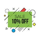 Colorful Sale Badges Design Templates. With geometric shapes stock illustration