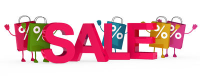 Colorful sale bags wave Stock Image