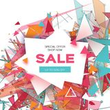 Colorful Sale Banner. Fiery geometry explosion. Big Sale. Discount. Trendy Geometric elemets, frame in paper cut style. For brochure, flyer. White background Stock Image