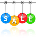 Colorful sale baubles Stock Photography