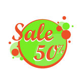 Colorful Sale icon in a circle poster, banner. Big sale, clearance. 50 off. Vector illustration. Stock Images