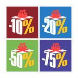 Colorful Sale 10%, 20%, 50% and 75% Stock Photos