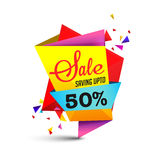 Colorful Sale Paper Banner. Sale Paper Banner or Tag design, Saving upto 50%, Creative colorful origami layout, Vector illustration Stock Photos