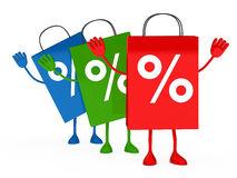 Colorful sale percent bags wave Stock Photos