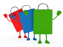 Colorful sale percent bags wave Royalty Free Stock Images