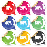 Colorful Sale 10 - 90 Percent OFF Discount Label Tag  on White Background. Vector Stock Photos