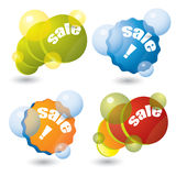 Colorful sale sticker set with bubbles Stock Photos