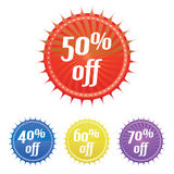 Colorful sale stickers Royalty Free Stock Images