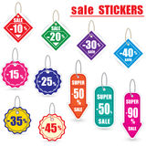 Colorful sale stickers and labels with cord Royalty Free Stock Images