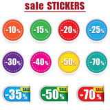 Colorful sale stickers and labels. Vector set Royalty Free Stock Photography