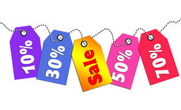 Colorful sale tag. Colorful sale and discount tags Stock Images