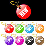 Colorful sale tags. With gold strings Stock Photo