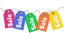 Colorful sale tags Stock Photography