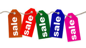 Colorful sale tags. Isolated on white Stock Photos