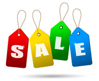 Colorful sale tags. Concept of discount shopping. Royalty Free Stock Images