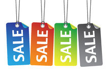 Colorful sale tags with thread Royalty Free Stock Photo