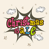 Colorful sale text for Merry Christmas celebration. Royalty Free Stock Photo