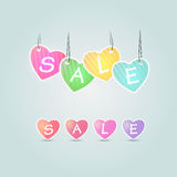 Colorful sale vector hearts. Sale Royalty Free Stock Photography