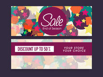 Colorful Sale website header or banner set. Colorful website header or banner set for End of Season Sale with 50% discount offer Royalty Free Stock Photos