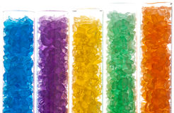 Colorful salt crystals in test tubes Stock Photography