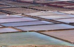 Colorful salt plant pans, Lanzarote, Spain. Playa de Janubio, Las Salinas de Janubio, salt pans from where the sea salt is extracted, Lanzarote, Canary Islands Stock Photography