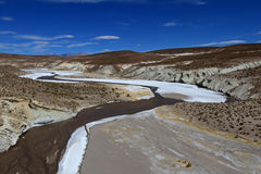 Colorful salt river valley in the andean mountains, Bolivia Stock Photos