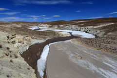 Colorful salt river valley in the andean mountains, Bolivia Royalty Free Stock Image