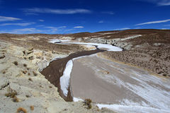 Colorful salt river valley in the andean mountains, Bolivia Royalty Free Stock Photo