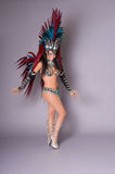 Colorful samba dancer, on grey background Stock Photography
