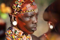 Colorful Samburu warrior in Archers Post, Kenya. Royalty Free Stock Photography