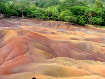 Colorful Sand. A unique place having sand in seven colors, in Mauritius Stock Photos