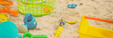 Colorful Sand box toys royalty free stock photography