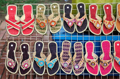 Colorful sandals. Beautiful of Colorful handmade straw sandals Royalty Free Stock Photos