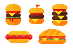 Colorful sandwich cartoon fast food icons isolated restaurant tasty american cheeseburger meat and unhealthy burger meal Royalty Free Stock Images