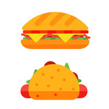 Colorful sandwich cartoon fast food icons isolated restaurant tasty american cheeseburger meat and unhealthy burger meal Stock Photos