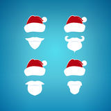 Colorful Santa Claus Face on a Blue Background Stock Photos