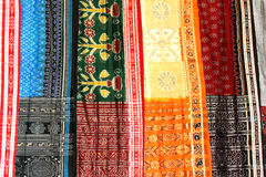 Colorful sarees. Colorful and designed indian sarees for sale at the market royalty free stock photos