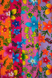 Colorful Sarong. Assortment of traditional colorful hibiscus drawing Sarong Batik fabric Royalty Free Stock Image