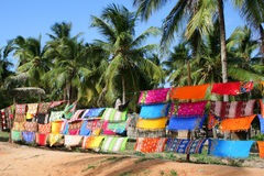 Colorful Sarongs being sold in the market in Barra Royalty Free Stock Photo