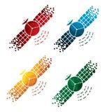 Colorful satellite icons on white background. isolated satellite icons. eps8. Stock Image