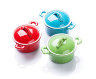 Colorful saucepans Royalty Free Stock Photography