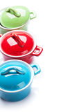 Colorful saucepans Royalty Free Stock Image