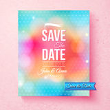 Colorful Save The Date template textured with dots Royalty Free Stock Photography