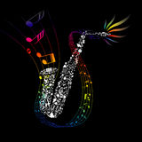 Colorful saxophone with composed music elements Royalty Free Stock Photography